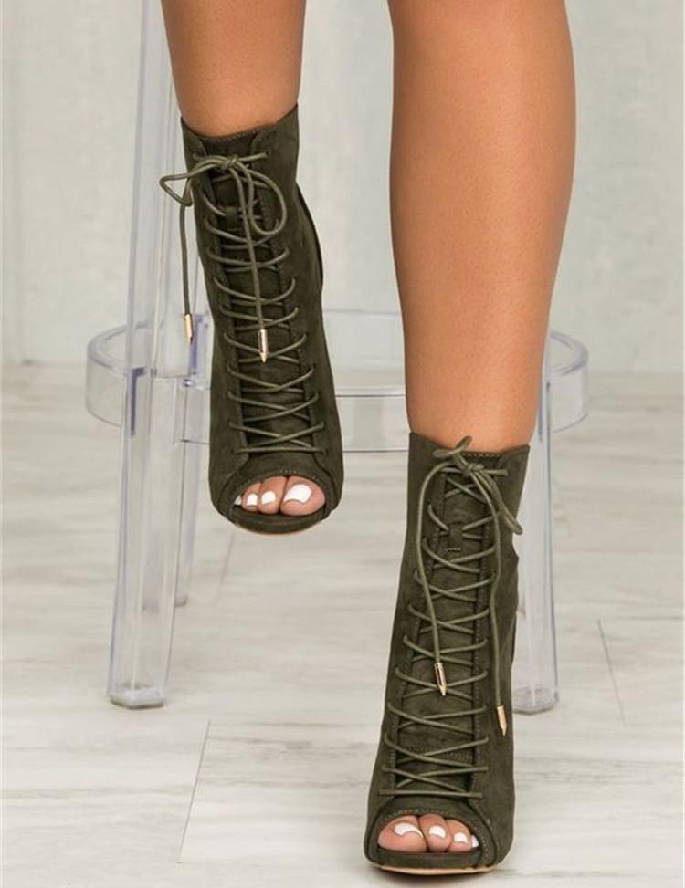 FGHGF Women Ankle Boots Olive Peep Toe