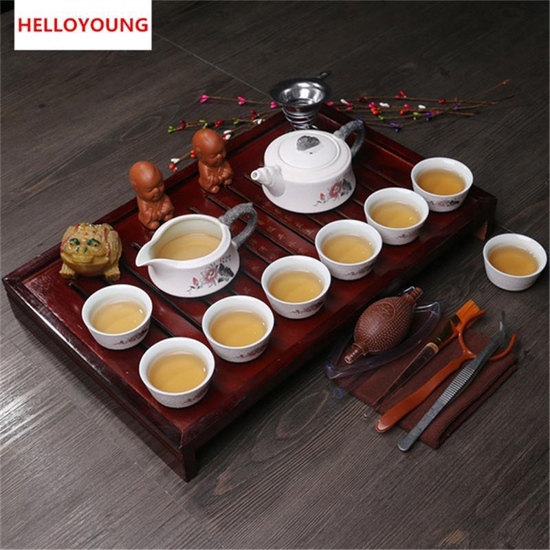 Chine Kung Fu à thé Drinkware argile pourpre thé en céramique comprennent pot de thé Coupe TeaTray chinoise à thé-porcelana théière ensemble préféré 2019