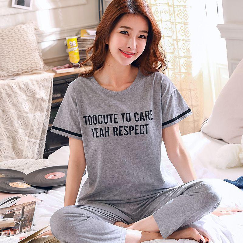 Plus Size Women Pajamas New Summer 100% Cotton Letter Pattern Lounge Girls Sleepwear Short Sleeve +striped Long Pants 2 Pcs Set Y19071901