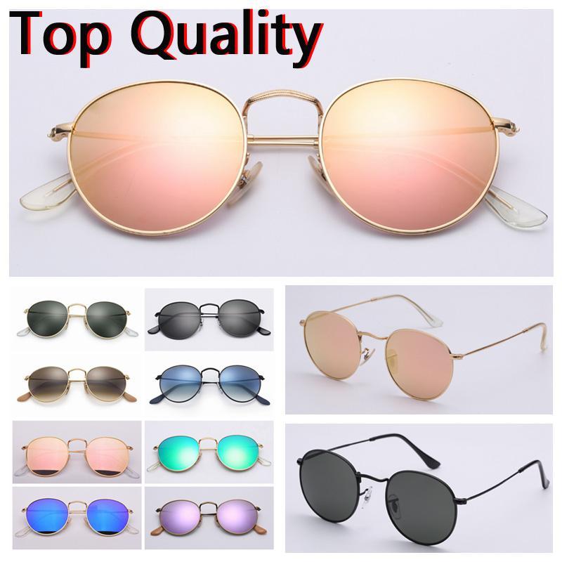 óculos de metal redondas mulheres lentes de vidro mens sol para senhora com caixa marrom ou preto de couro, pano, caixa cinza, e todos os acessórios!