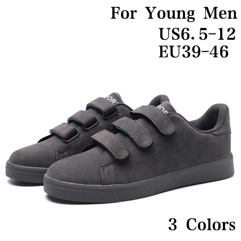 cheap for discount 4bd33 15f57 Youth Men Velcro Flat Skate Shoes Boys Old Skool Skateboarding Shoes Hook  and Loop Closure Sneaker Cool School Sport Casual Shoes