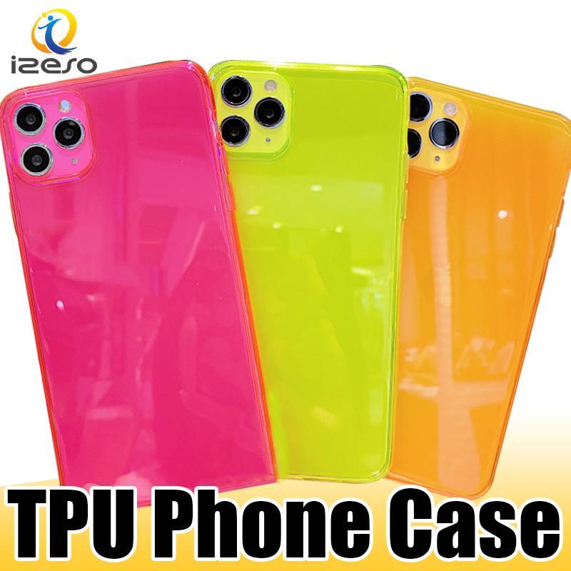 Şeffaf Şeker Koruyucu Telefon Kılıfı Için iphone 12 Pro 11 Pro XS Max XR 8 Temizle TPU Cep Telefonu Kapak İyi Premium Durumda Izeso