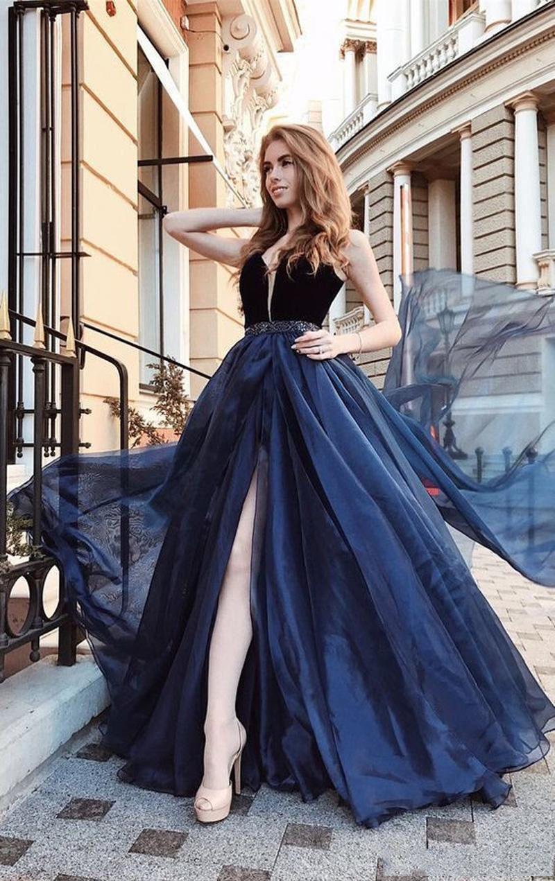 A 라인 네이비 블루 2019 댄스 파티 드레스 V 목 섹시한 높은 분할 모조 다이아몬드 허리 벨벳 탑 댄스 파티 드레스