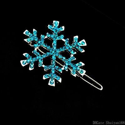 Christmas Snowflake Hairpin Crystal Hair Clips Pin Rhinestone Flower Hair Accessories Halloween for Women Girls Kids Jewelry Gift 6pcs/set
