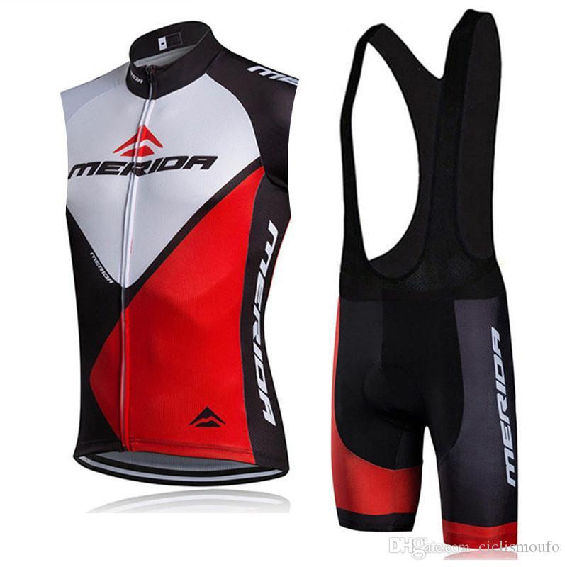 MERIDA 팀 프로 남자 사이클링 민소매 유니폼 조끼 턱받이 반바지 새로운 편안한 Breathablean 자전거 의류 60427 세트