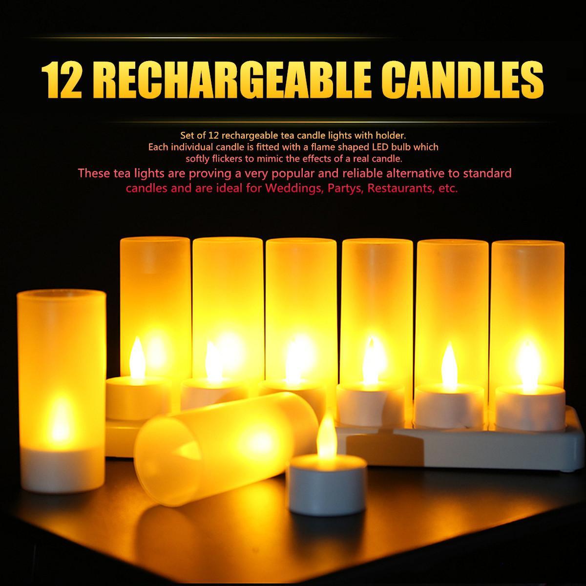 12шт светодиодные свечи Чай свет перезаряжаемые Мерцание пламени Shaped светодиодные лампы для партии Свадебный ужин с держателем США / EU / UK / AU Штекер T200601