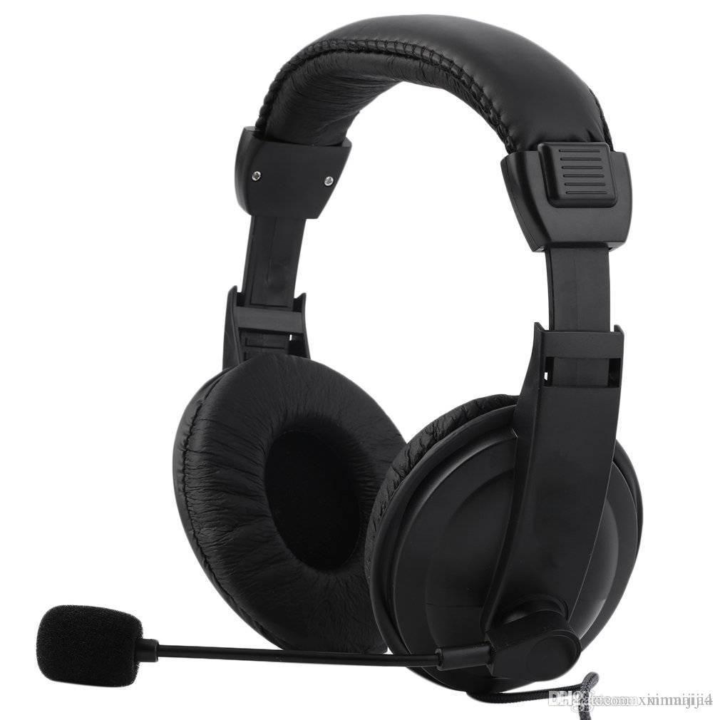 Black Adjustable Headset Headphone Headband Music Gaming Microphone 3.5mm Plug & Play for PC Laptop