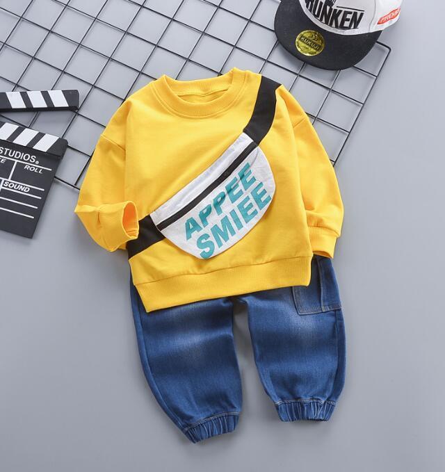 desgaste 2020 melhor primavera venda de outono infantil T-shirt mochila conjunto de manga longa bebê casuais calças jeans 3-4-year-old 2 dois conjuntos peça
