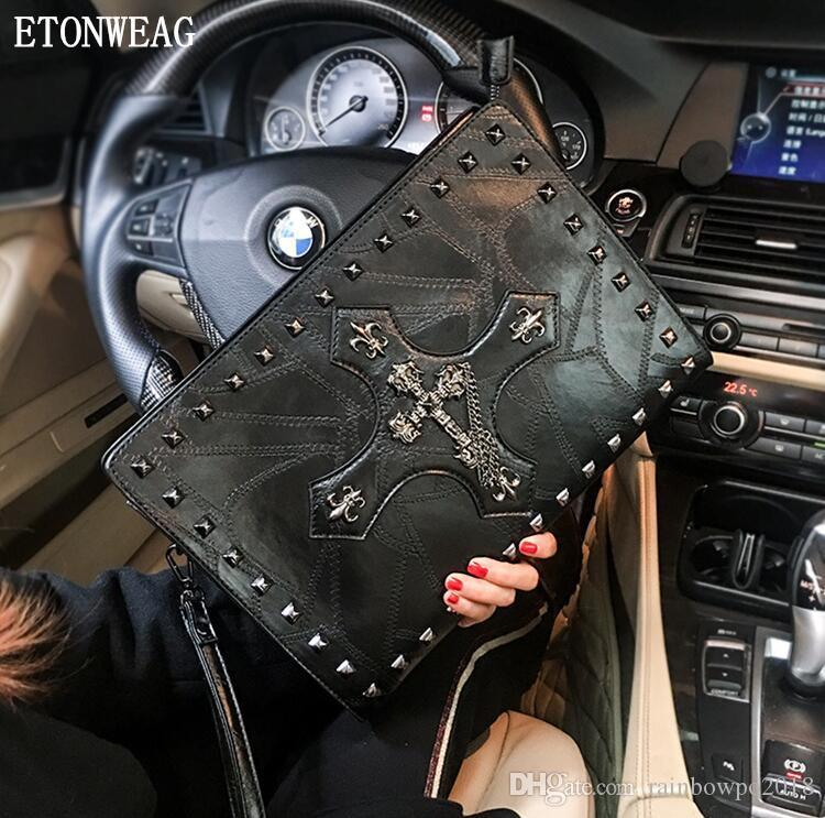 wholesale men handbag street cool cross pattern wrist bag personality rivet punk shoulder bag trend embroidered leather messenger bag