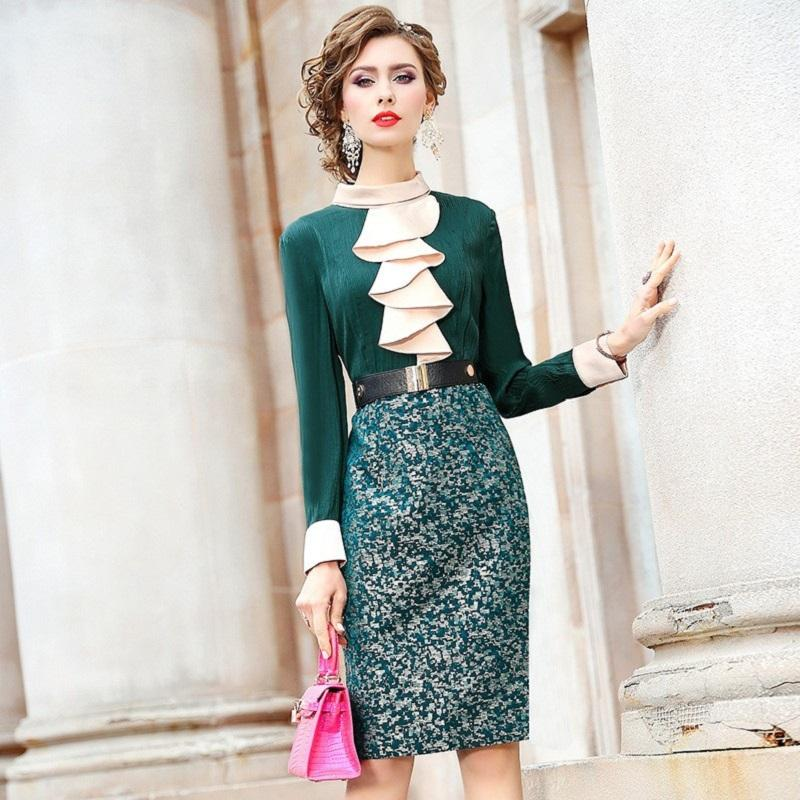 Spring 2020 new full Sleeve Women Ruffle Party Dress Office Package hip shirt dress Plus Size Womanliness work Vintage dresses