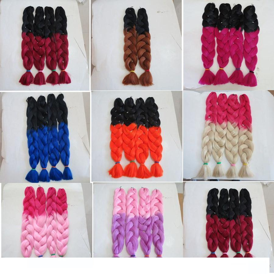 Kanekalon Jumbo Synthetic Braiding Twist Hair Folded 32inch 165grams Black&Burgundy Ombre two color xpression hair extension