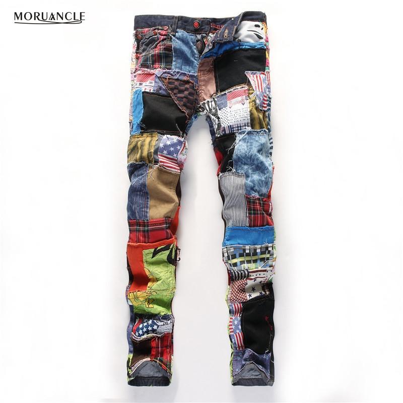 2017 Nouveaux Hommes De Mode Patchwork Jeans Personnalité Jean Joggeurs Avec Des Patchs Slim Fit Denim Pantalon Son Designer Hétéro E0015