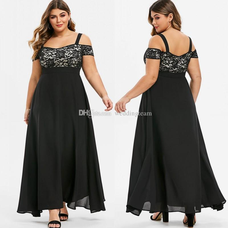 Cheap Lace Plus Size Prom Dresses Off The Shoulder Neck Empire Waist Evening Gowns A Line Ankle Length Chiffon Formal Dress
