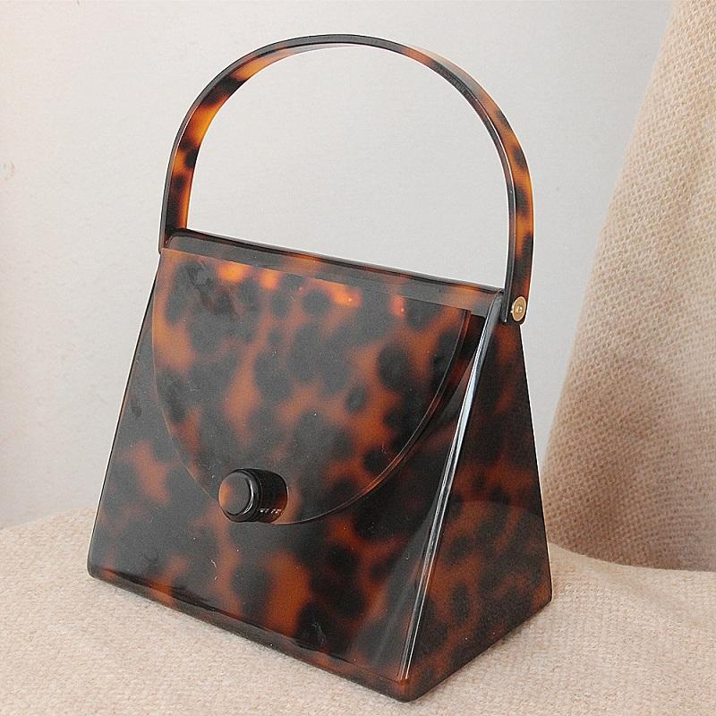 Caker Brand 2018 Women Acrylic handbags Fashion Colorful Leopard print Square Day Clutch day Bags Wholesale Dropshipping