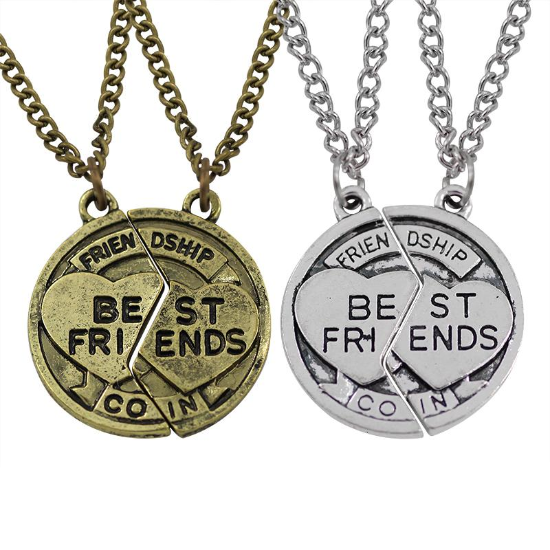 2 pc / insieme Vintage Puzzle rotonda Best Friends collane per le donne gli uomini Retro Bff collana Boygirl amicizia per sempre gioielli regali