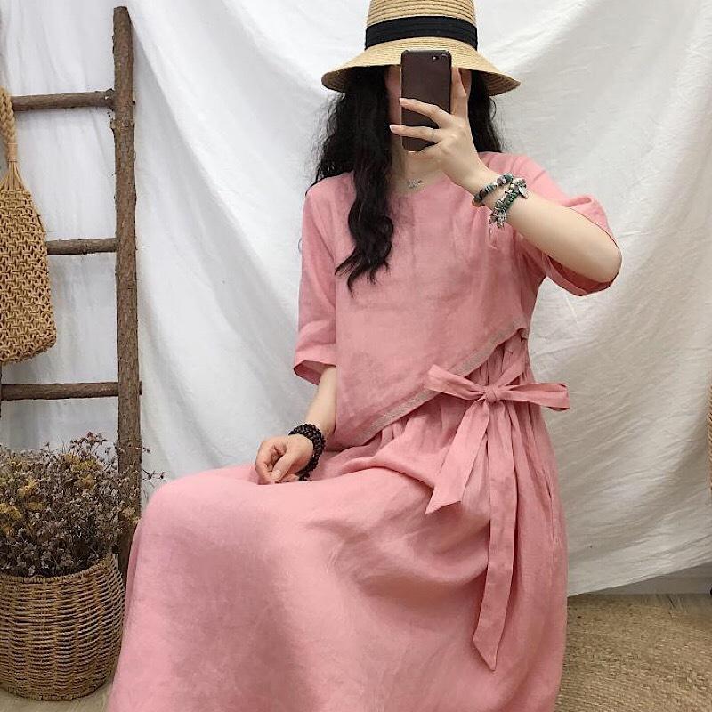 Loose Women lin brodé robe d'été Femmes Vintage lin Robe Patchwork Femme Faux 2 robes de pièce 2020