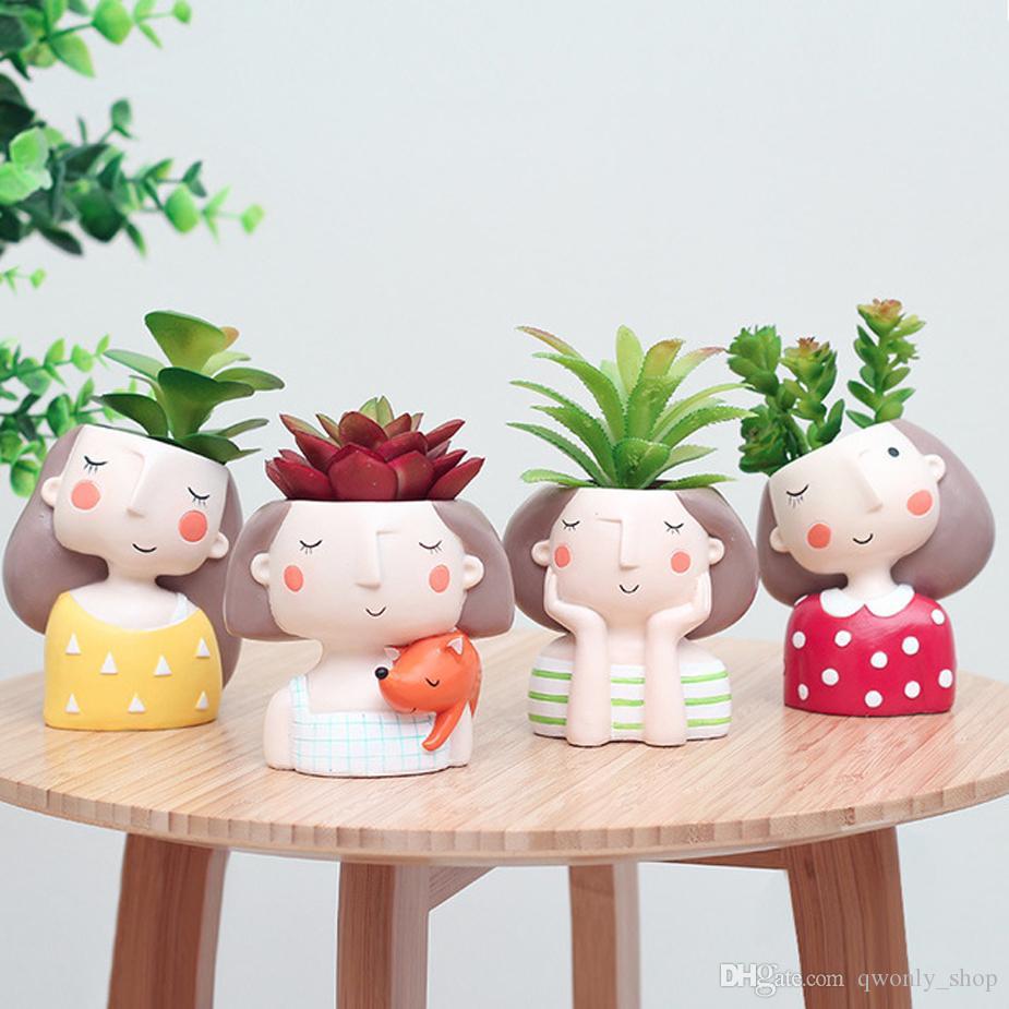 Cartoon Grils Boys Flower Pot for Succulents Fleshy Plants Flowerpot Ceramic Small Mini Home/Garden/Office Decoration 8 Styles