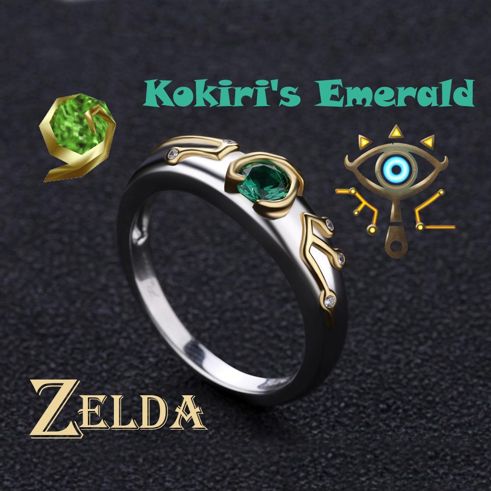 Zelda Yüzük Sheikah Göz Slate Kokiris Zümrüt Sterling 925 Gümüş Sevgililer Günü Hediye nişan yüzüğü J190709 Efsanesi