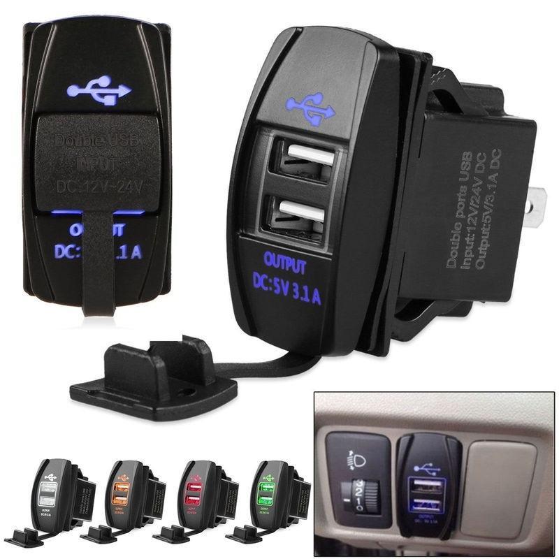 3.1A 듀얼 USB 포트 충전기 소켓 자동 어댑터 콘센트 12V 24V LED 방수 오토바이 차량에 대 한