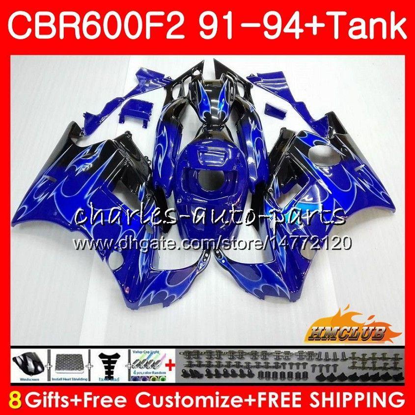 Body + Tank für HONDA CBR 600F2 CBR600FS CBR 600 FS F2 91 92 93 94 40HC.6 600cc CBR600 F2 CBR600F2 1991 1992 1993 1994 Verkleidungs Blaue Flammen