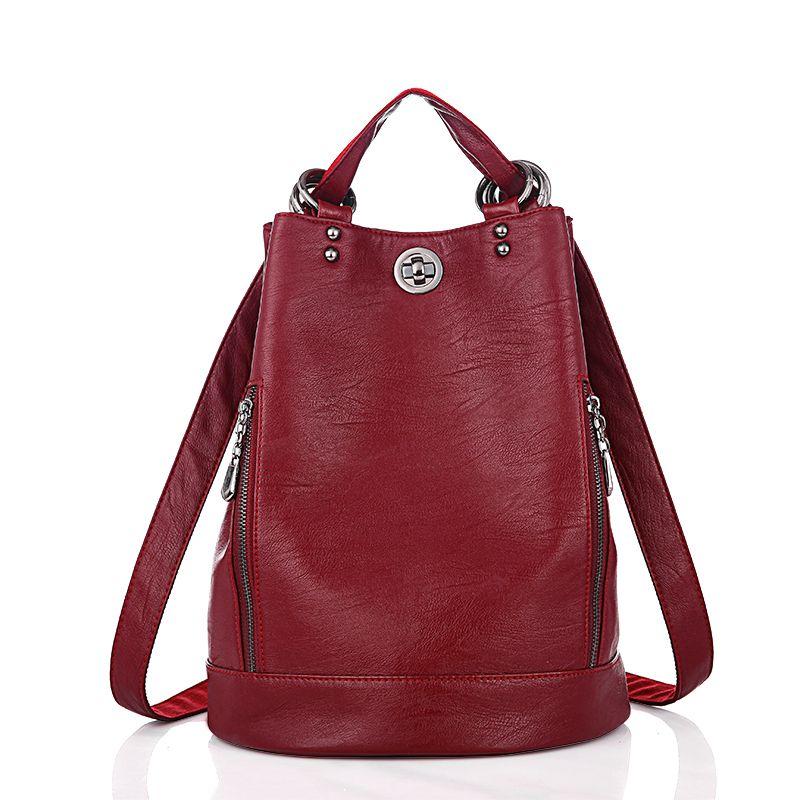 Fashion New Multifunction Women Backpack Pu Leather Black Bagpack Large Capacity Travel Bag Female Rucksack Shoulder Bag Mochila J190628
