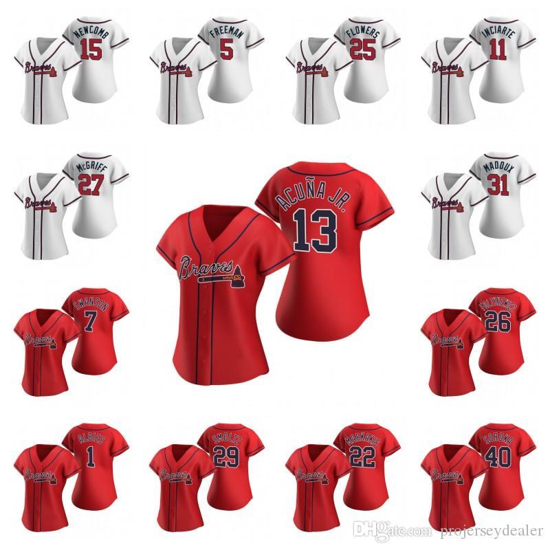 Frauen Ronald Acuna Jr. 2020 Saison-Baseball-Shirts Ozzie Albies Austin Riley Freddie Freeman Dansby Swanson Shane Greene Josh Donaldson