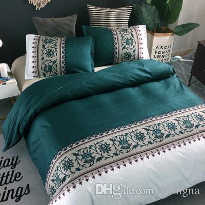 6 색 난초 꽃 패턴 인쇄 이불 커버 Pillowcase 8 크기 단일 / 더블 / 전체 / 퀸 / 킹 침구 세트로 설정