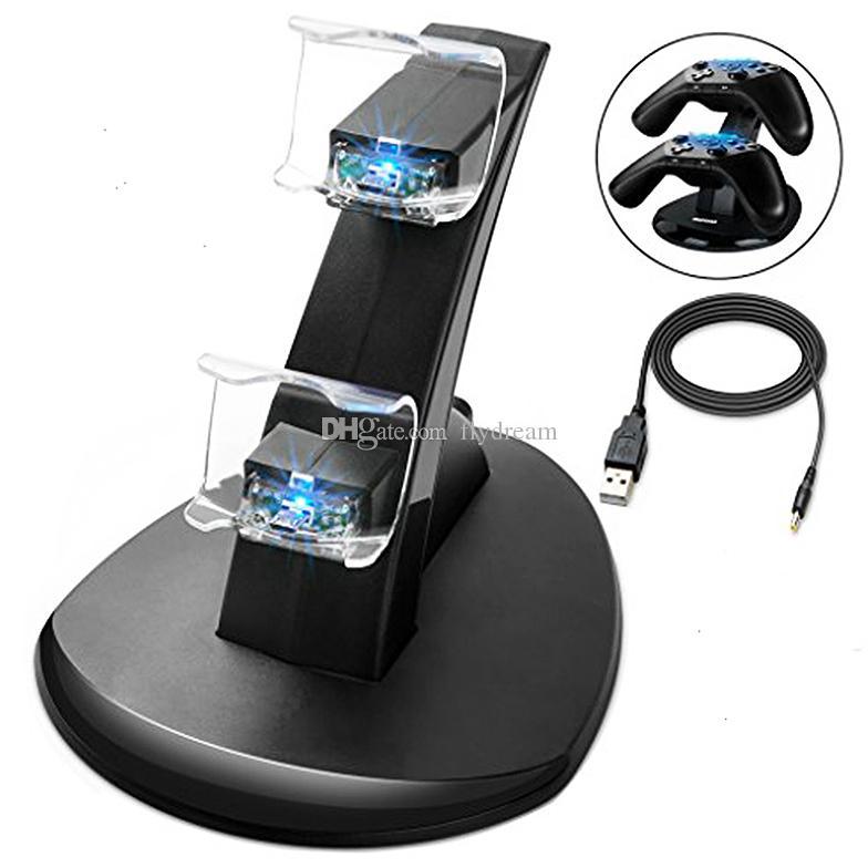 LED المزدوج شاحن حوض جبل USB شحن موقف لبلاي ستيشن 4 PS4 إكس بوكس واحد الألعاب تحكم لاسلكي مع صندوق البيع بالتجزئة الحرة