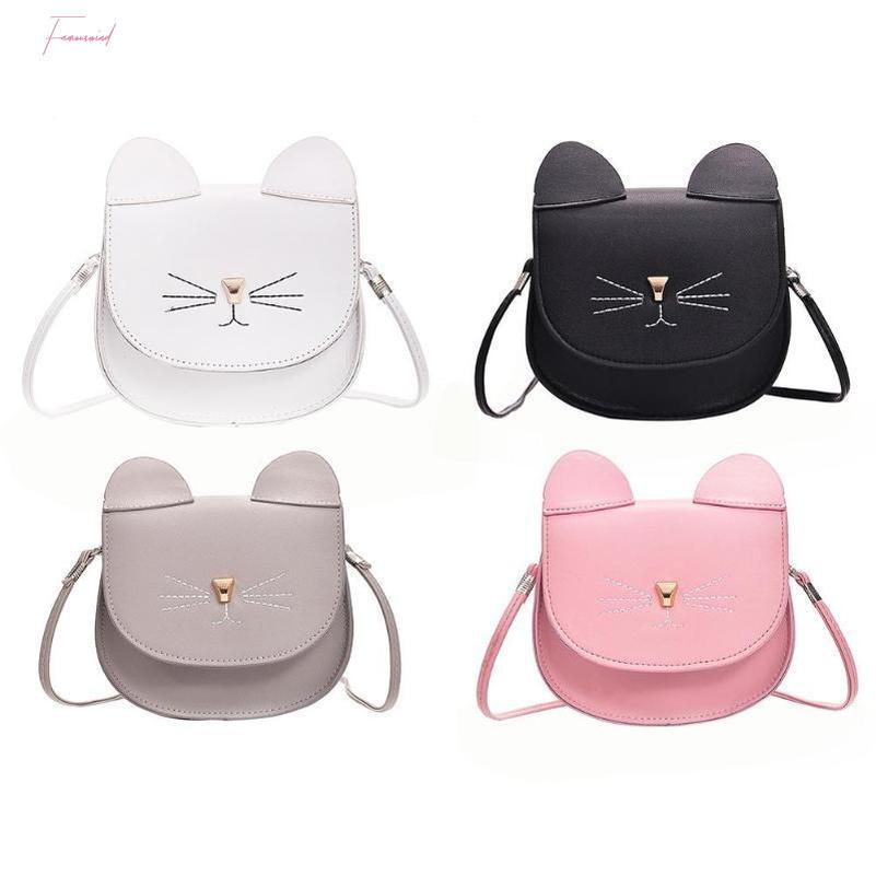 Мода Дети принцессы Малые Симпатичные Cate Сумка Девушка животных Pattern мини Pu женщин сумки на ремне Cute Cat Детские сумки