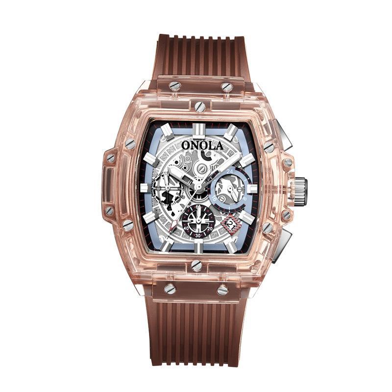 20ONOLA Transparente Assista Homens 2019 Mulheres cronógrafo de luxo quadrado plástico relógio de pulso de moda casual desportivo único Quartz Men Watch