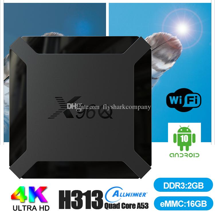 X96Q Android 10.0 TV Boxes Allwinner H313 2GB+16GB Support 2.4G Wifi Caixa de tv android PK TX3 H96 MAX Smart TV