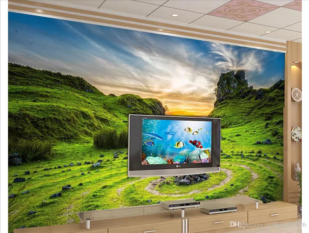 3D Özel duvar kağıtları ev dekor fotoğraf kağıdı Mavi gökyüzü günbatımı beyaz bulutlar manzara dağ tarafı bahçe tesisi TV kanepe arka plan duvar