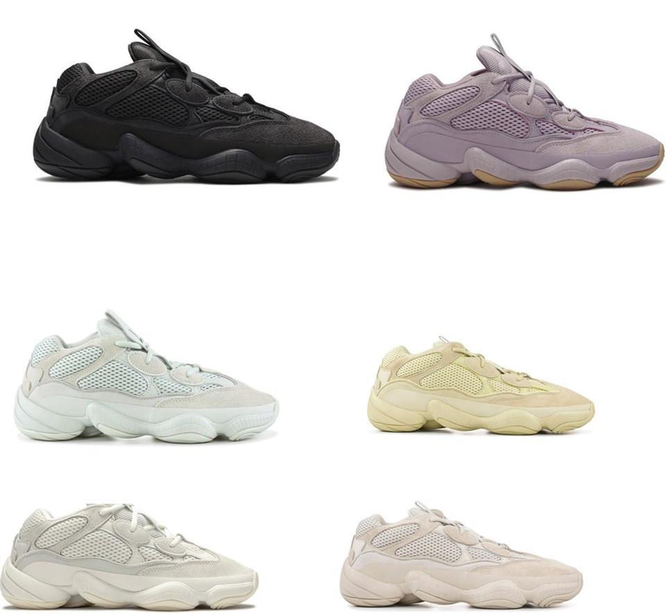 Kanye West 500 Koşu Ayakkabıları Yumuşak Vizyon Yardımcı Program Kara Ay Sarı Allık Taş Yüksek Kalite Erkekler Bayan Spor Kutusu Sinsi