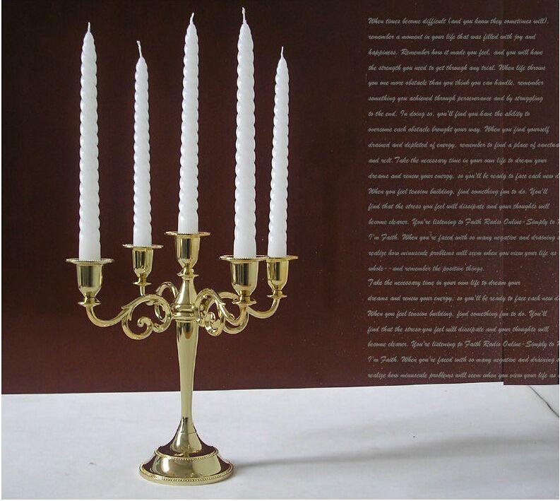 metal gold 5-light centerpiece candelabra candlestick candle holder set stand for wedding home decoration ZT030