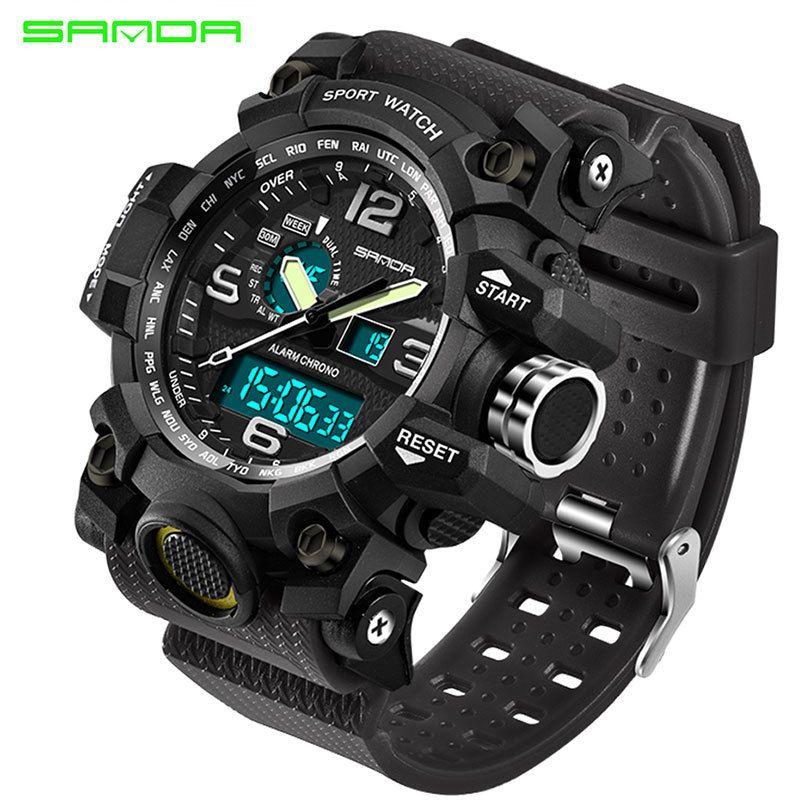 SANDA Men Military Sports Watches Male LED Digital Watch Waterproof Watch Men Luminous Chronograph Relogio Masculino LY191213
