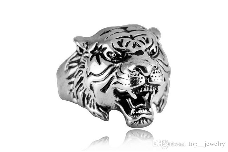 new Wholesale Super Quality Punk Rock Mens Biker Rings Vintage Gothic Skeleton Silver Jewelry 18K Gold Plated Tiger Skull Ring Men US Size