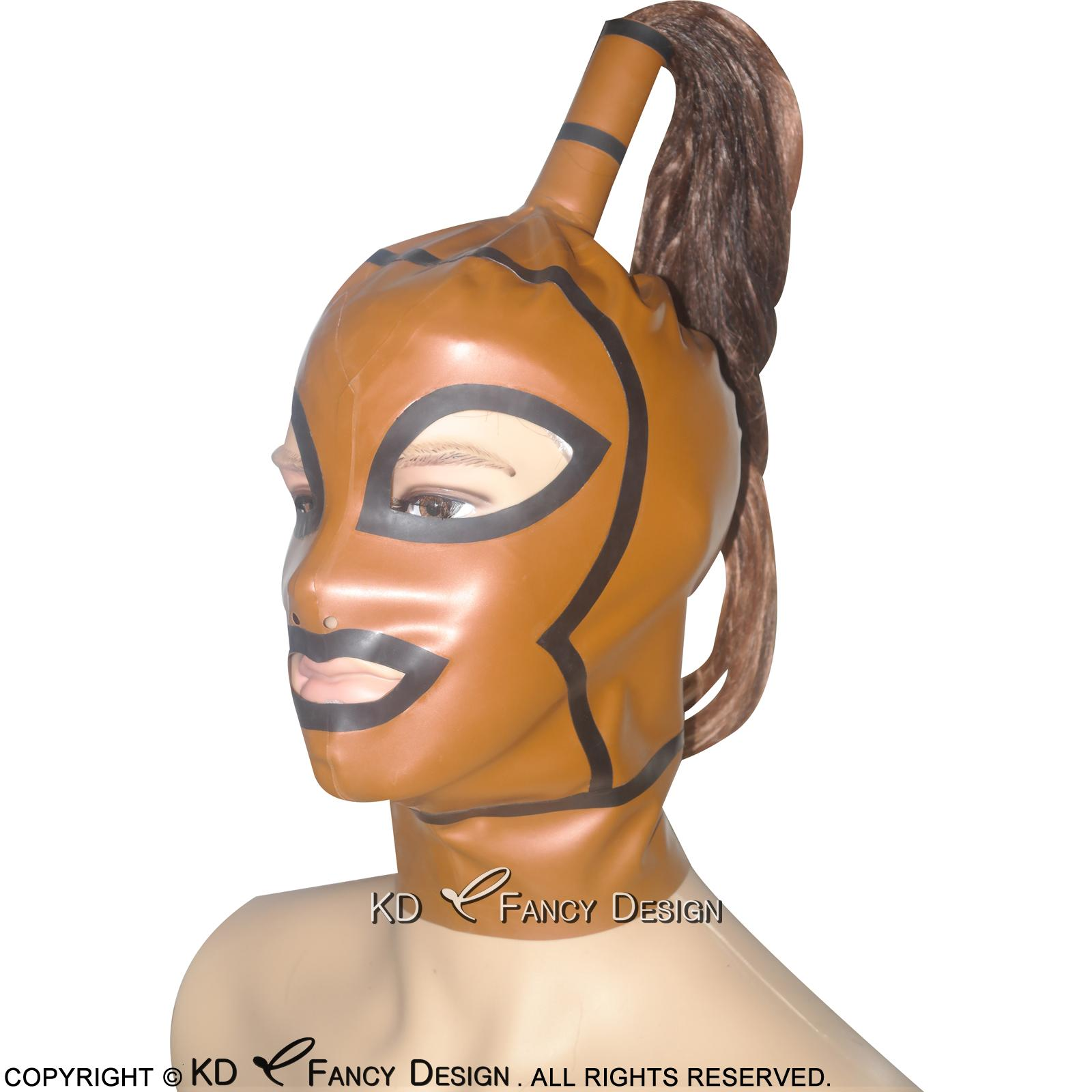 Golden With Black Trims Sexy Latex Hoods With Ponytail Zippers Back Open Mouth Eyes Nostril Pony Tail Rubber Masks TT-0010