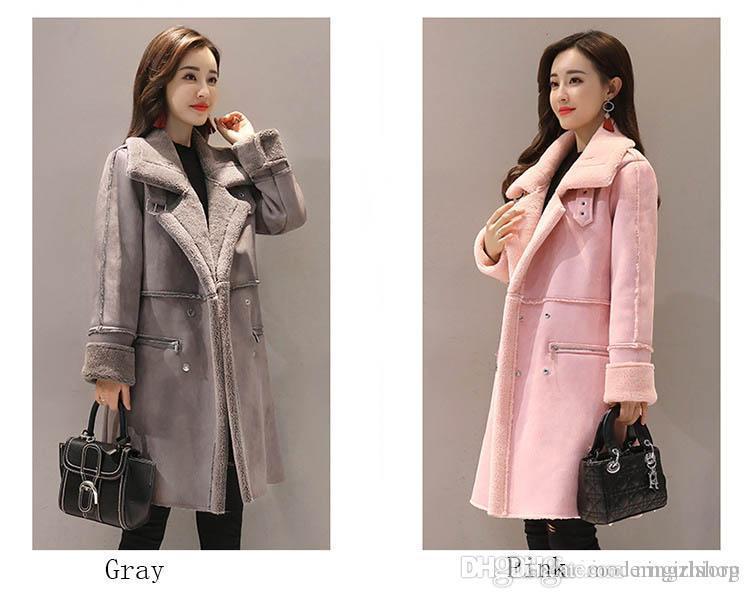 2019 nuova versione coreana invernale da donna della giacca spessa in cotone sciolto nel cappotto di pelliccia di agnello a paragrafo lungo in pelle di cervo