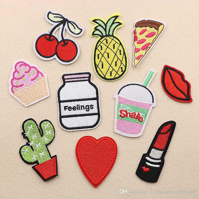 Pineapple Cactus Cherry Lipstick Embroidery Patches Sew Iron On Applique Repair DIY Badge Patch For Kids Clothes Jacket Bag Garment