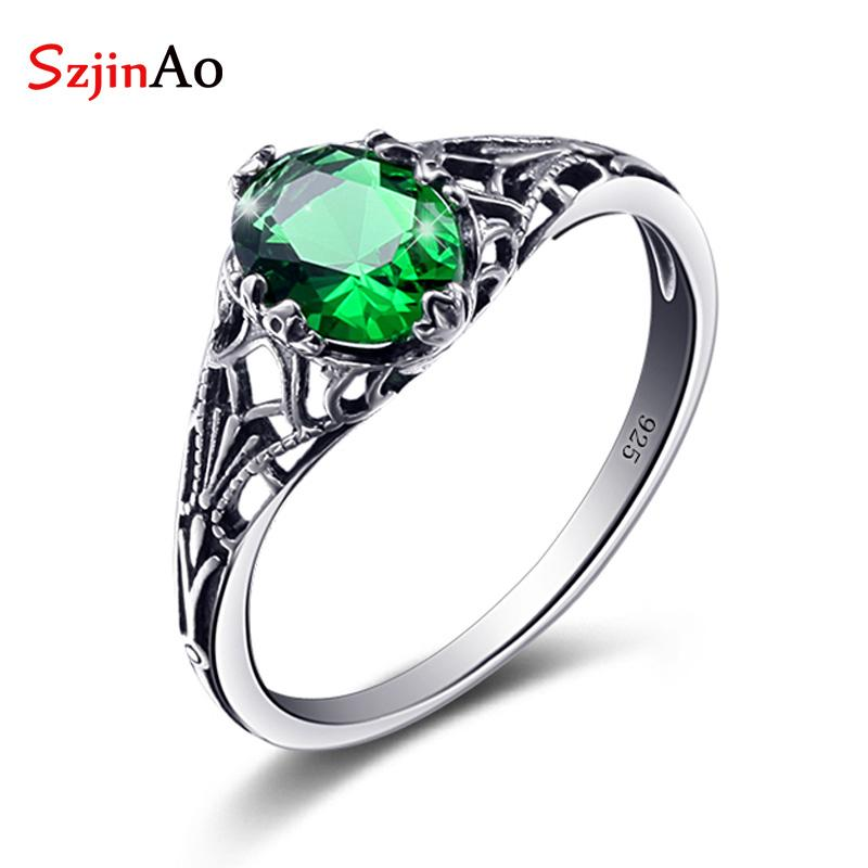 Szjinao fabrika Takı Zümrüt Vintage Charms Kadınlar Düğün iyilik ve hediyeler için 925 Gümüş Emarald Yüzük