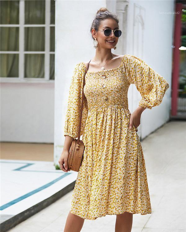 Elbiseler Tatil Ince Tatlı Düğme Uzun Kollu Kare Boyun Elbiseler Moda Bayan Günlük Elbiseler Çiçek Baskılı Kadınlar