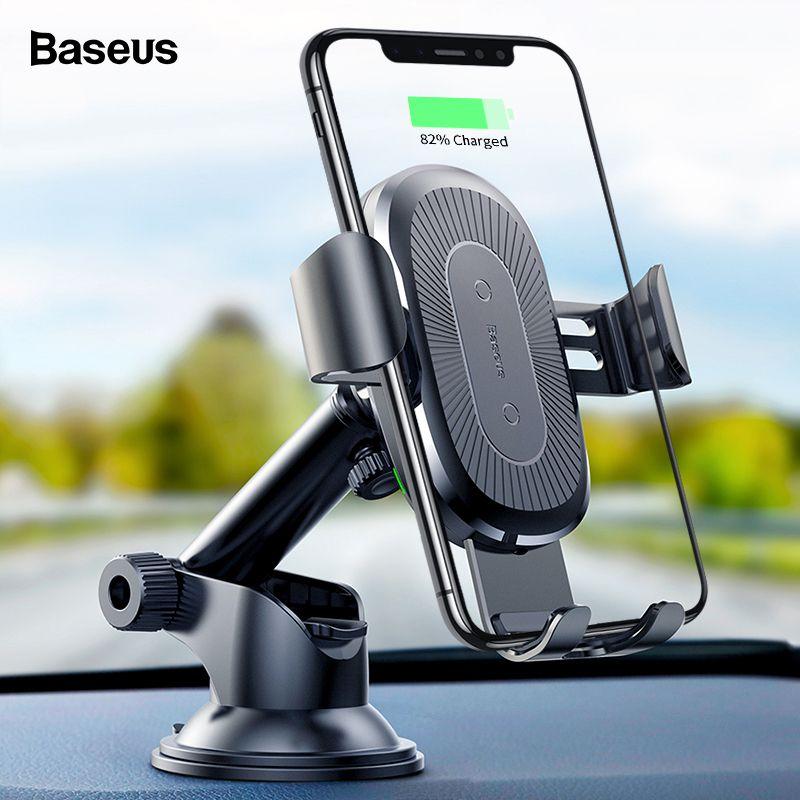 iPhone Para carregador de carro Baseus 10W sem fio Xs Max X Samsung S10 Xiaomi Mi 9 Qi Carregador sem fio carregamento rápido Car Phone Holder
