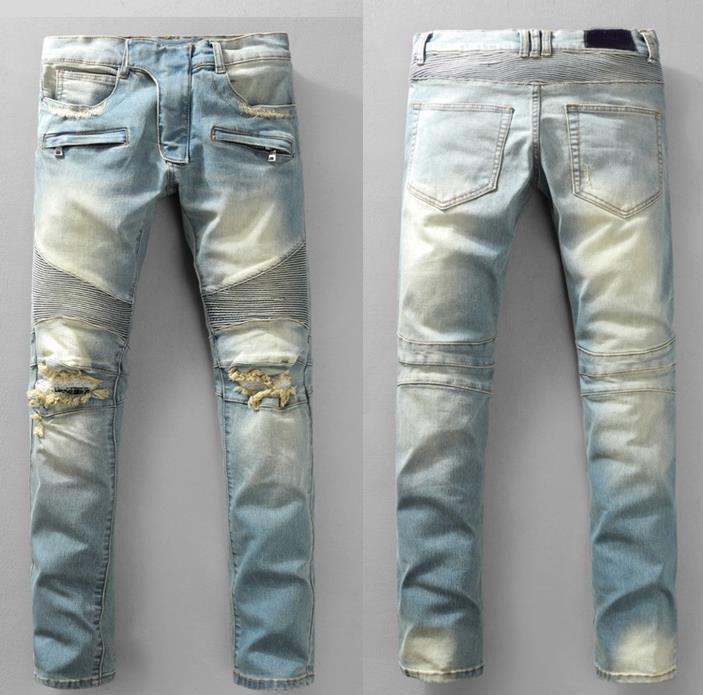 pantalons modèles d'explosion mens marée designer marque jeans homme sauvage de la mode hommes boutique de luxe en plein air Jean extensible