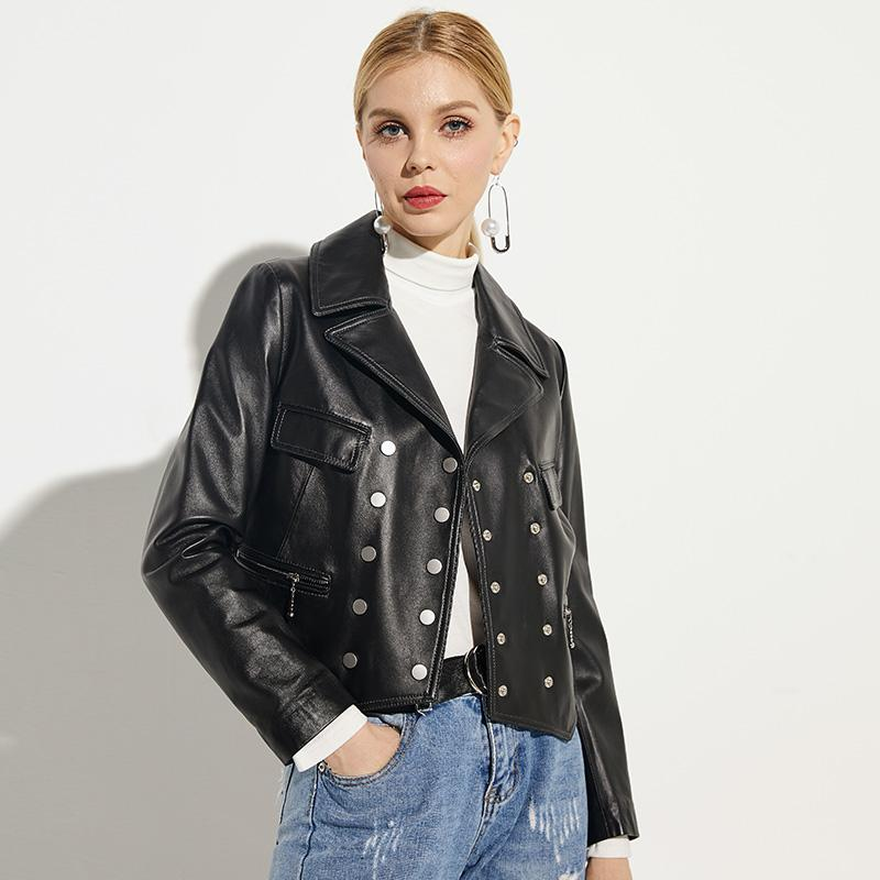 Leather female leather jacket new short paragraph casual loose thin sheep skin motorcycle jacket fashion