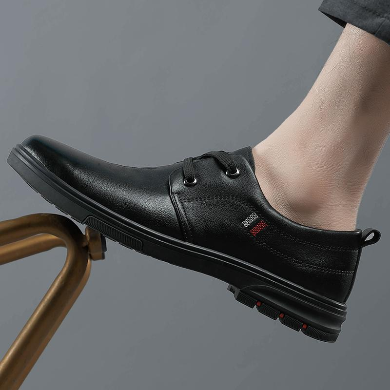 Loafers Mens Shoes Genuine Leather Formal Shoes Brand Lace Up Dress Shoes High Quality Oxfords Retro Office Footwear Fashion
