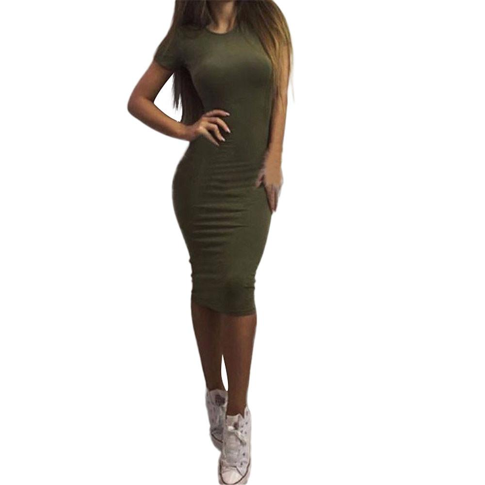 여자 드레스 Vestido 여름 짧은 또는 긴 소매 슬림 Bodycon 원피스 · 튜닉 라운드 넥 캐주얼 연필 드레스 2,020 S-XL