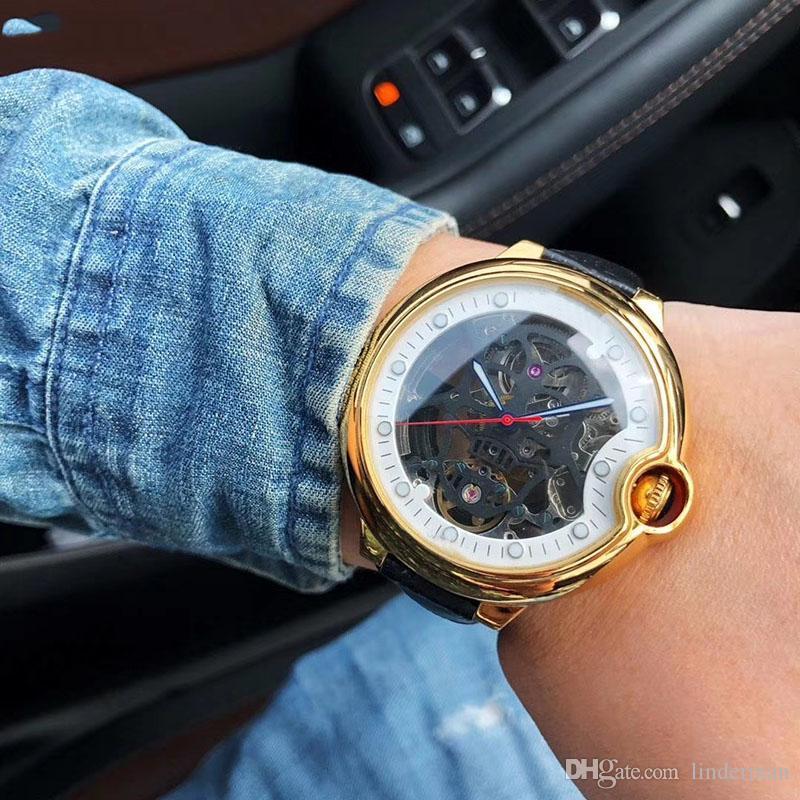 Edición limitada Azul Balón de movimiento automático del reloj de los hombres de 45 mm Dial hueco banda de cuero reloj masculino Montre Homme