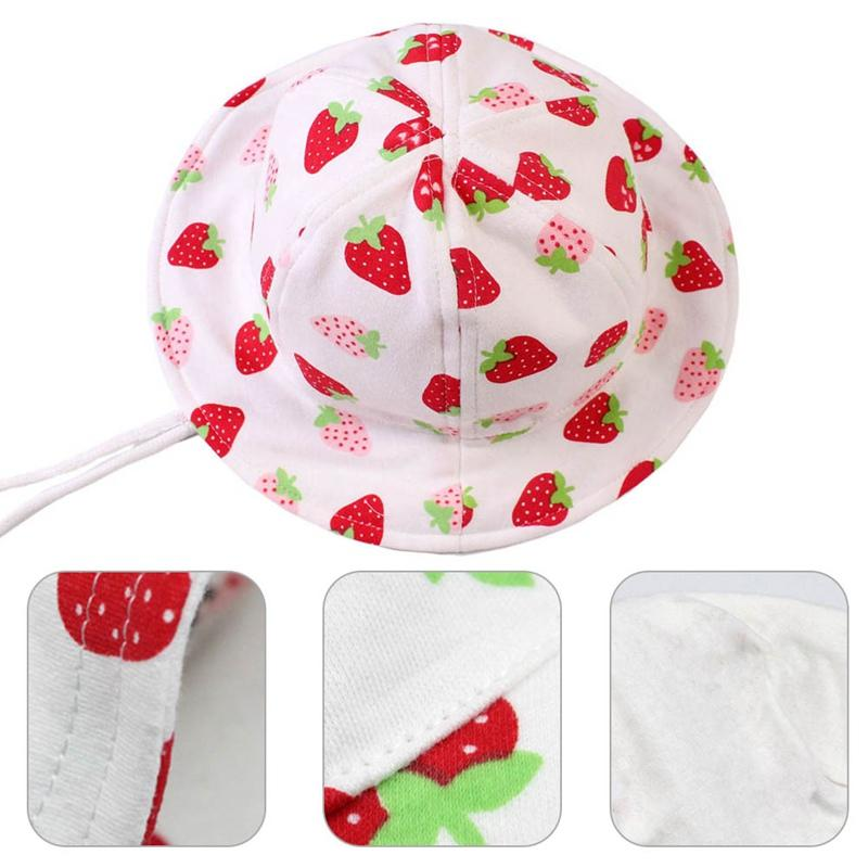 Девушки Hat Мода Ковш шляпы Симпатичные ВС Cap Младенческая Caps Клубничный печати малышей Шапочки Летняя детская одежда Вспомогательное оборудование