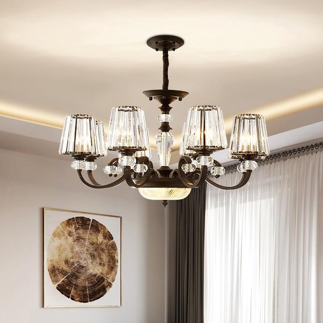 Yeni tasarım klasik siyah kristal avize ışığı Amerikan kırsal lüks kolye avize aydınlatma odası yatak odası koridor yaşamak için led