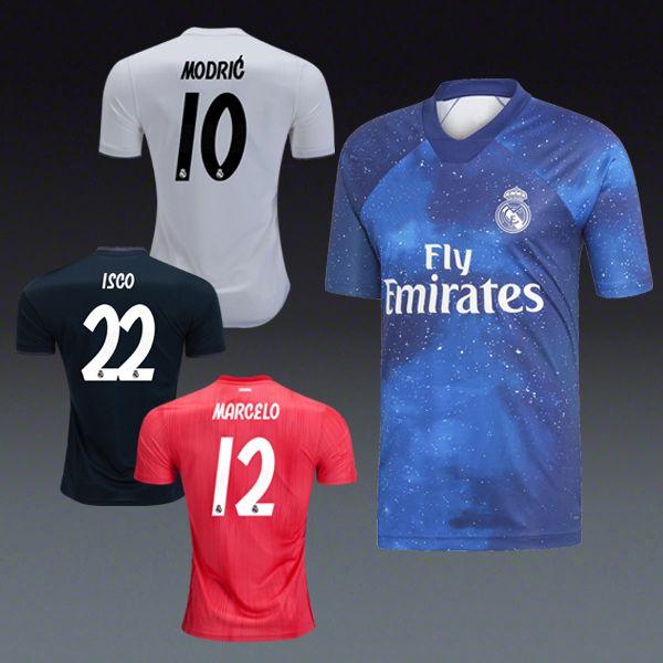 Acquista Real Madrid 2018/19 EA Sports Blu Home Away Terzo Nere Di Calcio Rosso Camicie In Jersey Di Calcio Kit Marcelo Modric Toni Kroos Isco Bale ...